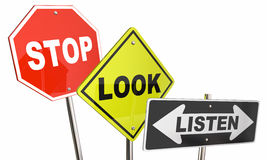 Stop Look Listen Road Street Signs Stock Photography