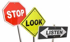 Stop Look Listen Road Street Signs. Stop Look Listen Pay Attention Road Street Signs 3d Illustration stock illustration