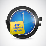 Stop looking at me time concept illustration Stock Photography