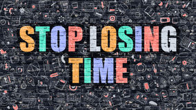 Stop Losing Time Concept with Doodle Design Icons. Stop Losing Time. Multicolor Inscription on Dark Brick Wall with Doodle Icons. Stop Losing Time Concept in Royalty Free Stock Photo