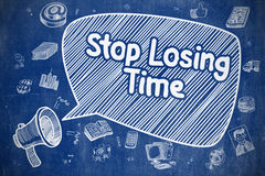 Stop Losing Time - Doodle Illustration on Blue Chalkboard. Speech Bubble with Wording Stop Losing Time Hand Drawn. Illustration on Blue Chalkboard. Advertising Stock Images
