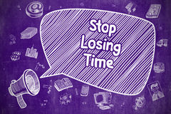 Stop Losing Time - Doodle Illustration on Purple Chalkboard. Speech Bubble with Text Stop Losing Time Doodle. Illustration on Purple Chalkboard. Advertising Royalty Free Stock Images