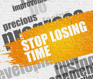 Stop Losing Time on White Brick Wall. Education Concept: Stop Losing Time Modern Style Illustration on the Yellow Paintbrush Stripe. Stop Losing Time - on White Stock Photography