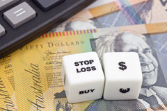 Stop loss Australian Dollar Stock Photo