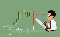 Stop loss. Businessman is going to stop loss by his chain saws Stock Photo