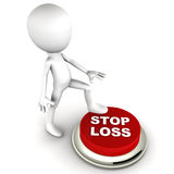 Stop loss. Button hit by a little man, investing  concept, shares investment and trading intraday concept royalty free illustration
