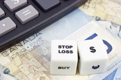Stop loss Canadian dollar Stock Photo