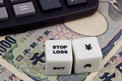 Stop loss Japanese Yen Stock Photo