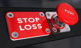 Stop Loss, Trading. Stop loss panic button with over black background, finance concept Royalty Free Stock Photo