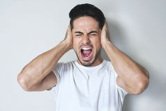 Stop that loud noise! Stock Photos
