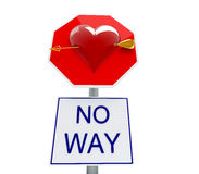 Stop love. Saint valentine panel with arrows Royalty Free Stock Photo