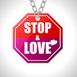 Stop and love traffic sign Royalty Free Stock Image