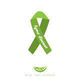 Stop lyme disease. Flat vector poster design with green ribbon. Stock Image