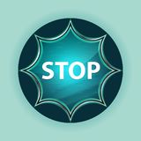 Stop magical glassy sunburst blue button sky blue background royalty free stock photos