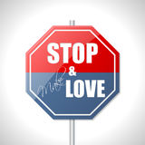 Stop and make love traffic sign Stock Image