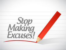 Stop making excuses written message royalty free illustration