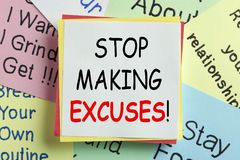 Stop Making Excuses Concept. STOP MAKING EXCUSES written on a note paper. Business Concept Stock Photos