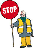 Stop man. Standing man holding STOP sign Stock Images