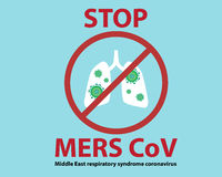 Stop Mers Cov Sign Background. Vector Illustration, Middle East respiratory syndrome coronavirus Sign Stock Image