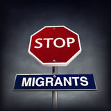 Stop migrants vector illustration