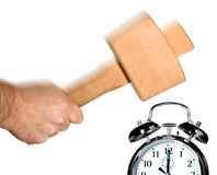Stop the morning alarm clock  Royalty Free Stock Images