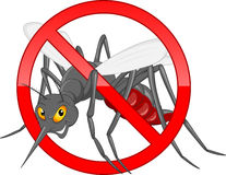 Stop mosquito cartoon. Vector illustration of stop mosquito cartoon Royalty Free Stock Image