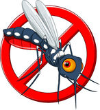 Stop mosquito cartoon. With white background Stock Images