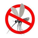 Stop mosquito. Forbidden Zika virus. Frozen mosquito insect. Emb. Lem against virus Zika. Emblem against malaria. Red forbidding character. Ban flying Royalty Free Stock Photography