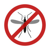 Stop mosquito insect red restriction sign Royalty Free Stock Photography