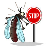 Stop mosquito. Stop pest illustration with a funny cartoon mosquito Royalty Free Stock Photography
