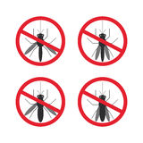 Stop mosquito sign black in red circle Isolated Royalty Free Stock Photos