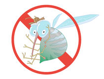 Stop Mosquito - Sign. Label for Insect Control Service. Angry Mosquito. Funny cartoon. Stop Mosquito - Sign. Vector Illustration for Label for Insect Control Royalty Free Stock Photography