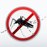 Stop mosquito sign. Mosquito stylized silhouette as red danger stop sign. Vector Royalty Free Stock Photography