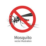 Stop mosquito vector sign. Stop mosquito. Red prohibition sign. Ban insects. Anti pest cartoon sign. Vector illustration flat design.  on background. Malaria Royalty Free Stock Images