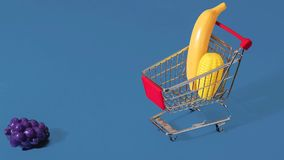 Stop Motion Animation for Healthy Shopping with Shopping Cart Trolley stock video footage