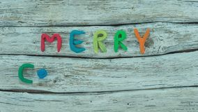 Stop motion animation of Merry Christmas lettering stock footage