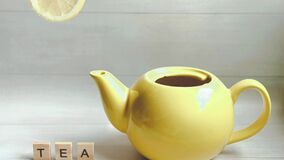 Stop motion animation in which the process of brewing tea is going on