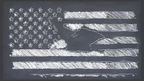 Stop motion of chalk drawn USA flag with bald eagle fly cartoon animation seamless loop on school blackboard - new. Stop motion of drawn grunge flag with bold stock video footage