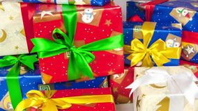 Stop motion of christmas gift boxes on white background. stock video footage