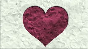 Stop motion clay made heart shape cartoon handmade like animation seamles loop - new quality romantic wedding symbol. Video footage stock video