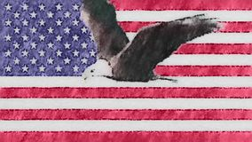 Stop motion of drawn pastel USA flag with bald eagle fly cartoon animation seamless loop - new quality national. Stop motion of drawn grunge flag with bold eagle stock video