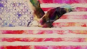 Stop motion of drawn watercolor grunge USA flag with bald eagle fly cartoon animation seamless loop - new quality. Stop motion of drawn grunge flag with bold stock video footage