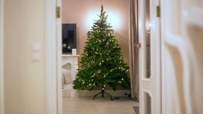 Stop motion. gradually assembled an artificial Christmas tree, there are garlands illumination lights in a dark room. Stock Photos