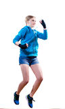 Stop motion: jumping high boxing blond girl Stock Photography