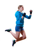 Stop motion: jumping high boxing blond girl Stock Photo