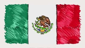 Stop motion of marker drawn Mexico flag cartoon animation - new quality national patriotic colorful symbol video footage. Stop motion of pencil drawn mexico flag stock video footage