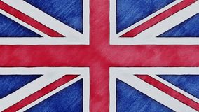 Stop motion of pencil drawn British flag cartoon animation - new quality national patriotic colorful symbol video.  stock video footage