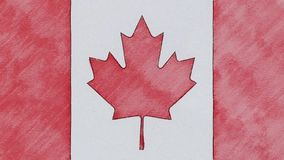 Stop motion of pencil drawn Canada flag cartoon animation - new quality national patriotic colorful symbol video footage.  stock video footage