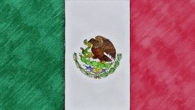 Stop motion of pencil drawn Mexico flag cartoon animation - new quality national patriotic colorful symbol video footage. Stop motion of pencil drawn flag stock footage