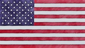 Stop motion of pencil drawn USA flag cartoon animation - new quality national patriotic colorful symbol video footage.  stock video